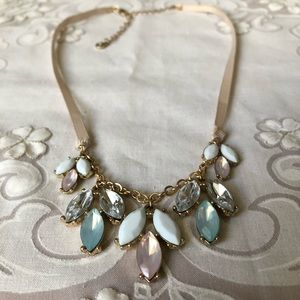 CLEARANCE -Blue and pink crystal ribbon necklace